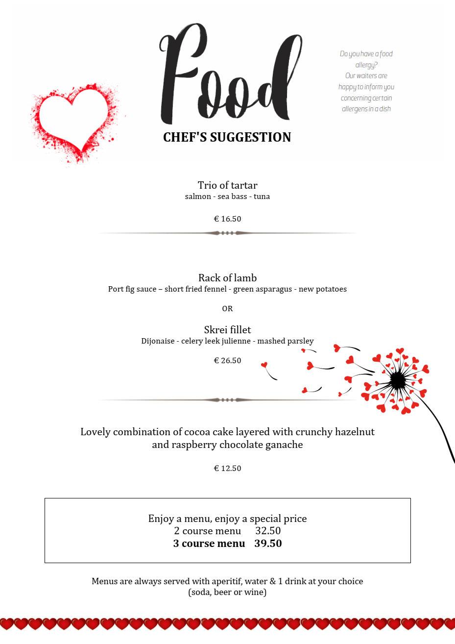 Valentine's menu 2020